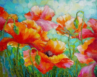 Painting Poppies , Painting oil flower, Poppies floral painting original on canvas, oil painting floral wall art Impasto painting Home Decor