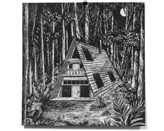 A-Frame Cabin - 15x15 Art Print