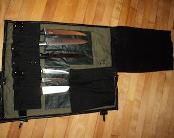 knife roll black leather and kaki denim portable