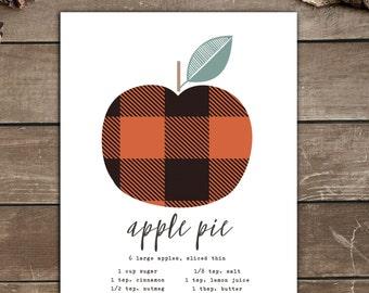 Apple Pie Print, Plaid, Gingham, Fall Print, Rustic Decor