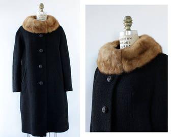 Mink Fur Collar Coat S/M • Boucle Coat • 60s Wool Coat • Vintage Wool Coat • Trapeze Coat • Black Wool Coat • Black Winter Coat | O494