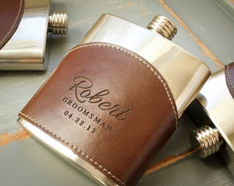 Custom Monogrammed Genuine Leather Flask Hip Flask