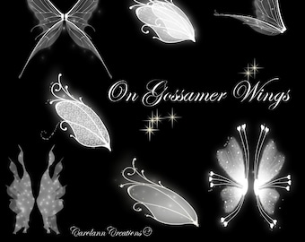 Fairy Wings Photo Overlays - On Gossamer Wings - 7 png images. For any art programme using png format.