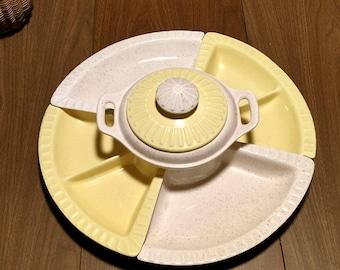 vintage ceramic, 5 piece chip/veggie and dip serving set