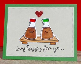 Funny Wedding Card, Engagement Card, Sushi Card, Congratulations Card, Anniversary, Bridal Shower Greeting Card, Food Pun Card, Handmade