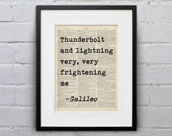 Thunderbolt and Lightning Very Very Frightening Me / Galileo - Quote Dictionary Queen Page Book Art Print - DPQU231
