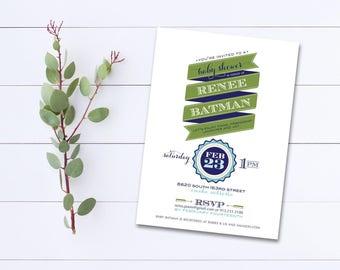 Printable Baby Boy Shower Invite - Printable Shower Invitation Boy - Shower Invitation Green Blue