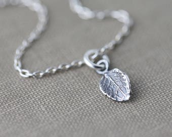 Tiny Leaf Necklace for Women | Gift for Her | Gift for Women | Outdoors Gift | Sterling Silver Necklace Handmade by Burnish
