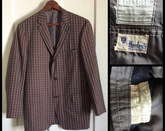 Men's Vintage 1960's Plaid Sport Jacket Blazer looks size Medium to Large Gray Black Red