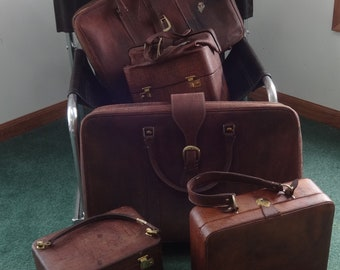 Harrod's,London England,Vintage Leather Luggage 5 Piece Set-1973 w/key,Staging,Props,Guest Room,LivingRoom,Cabin-ONE PRICE for ALL!