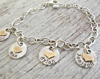Grandma Bracelet, Personalized Kids Name Bracelet, Mother's Bracelet, Hand Stamped, Rustic, Sterling Silver