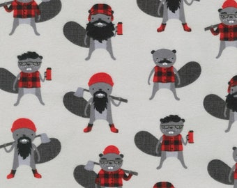 Burly Beavers in Iron Flannel by Andie Hanna for Robert Kaufman cotton lumberjacks fabric material by the yard or metre