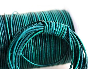 1mm Round Natural Leather cord - Vintage Dark Turquoise Green - 10 feet, LC100