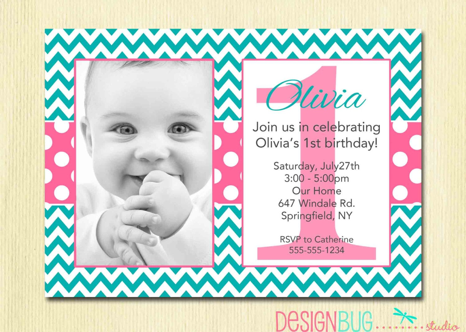 Chevron and Polka Dots Girl\'s Birthday Invitation 1 2