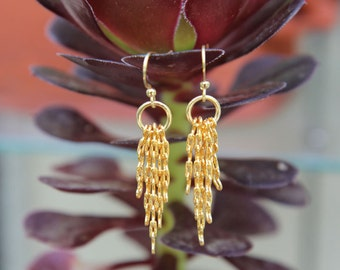 Kidney Chain Earrings -  5-strand gold-plated