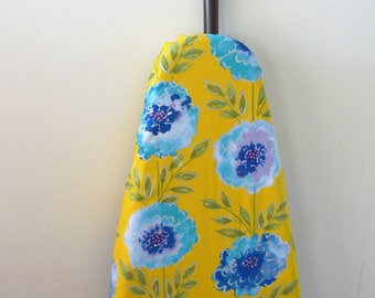 Ironing Board Cover - big pretty blue and purpl flowers on bright yellow background