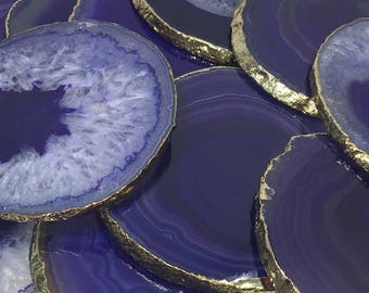 Purple Agate Coasters Purple Colors Natural Agate Drink Coasters -Natural stone Coasters- Coasters, Stone coasters, coasters