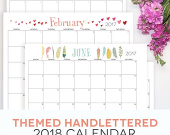 """Calendar Printable 2018, (2017 included) Themed, Fillable PDF, Digital Monthly Pages, Letter Size 8.5"""" x 11"""" Instant Download, Landscape"""