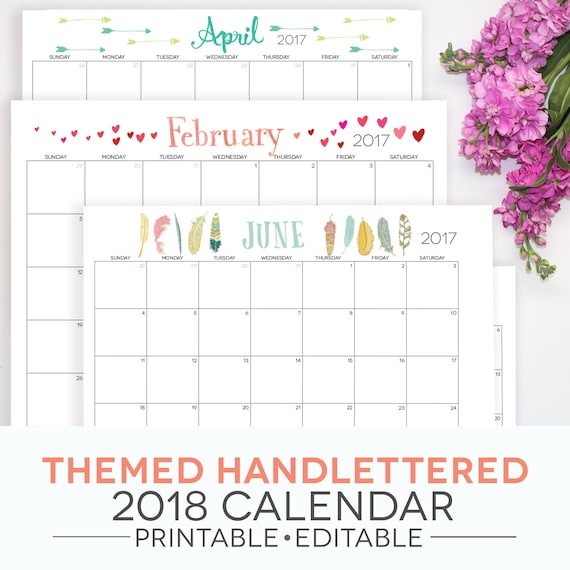 Calendar Printable 2018 2017 Included Themed Fillable Pdf