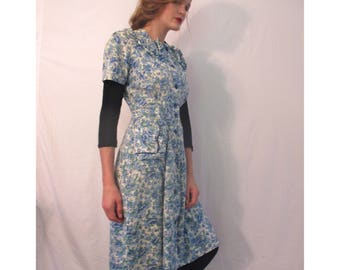 Vintage Blue & Cream Floral late 40's or early 50's house- day dress from BASIA DESIGNS Private Collection
