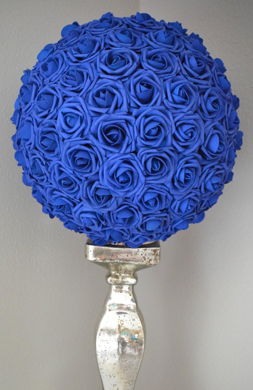 Royal blue flower ball wedding centerpiece
