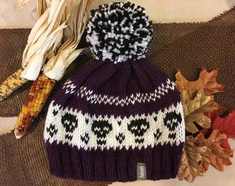 Skulls Halloween Beanie / Womens Slouchy Hat / Womens Pom Pom Hat / Winter Hat / Cute Beanie Women / Knitted Slouch Hat / Hand Knit Hat