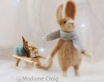 Needle Felted Animal , Rabbit pulling a sledge , Gift , Christmas celebration,  Nature Scene , home decor , Decoration , Waldorf Art