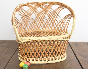 "Doll Furniture - Wicker Rattan Woven Doll Sofa, Love Seat For Any 11 1/2"" Doll, Vintage Doll Furniture, Woven Wicker, Woven Rattan"