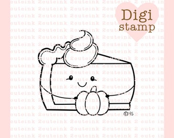 Pumpkin Pie Digital Stamp - Pumpkin Pie Stamp - Digital Thanksgiving Stamp - Pumpkin Pie Art - Pumpkin Pie Card Supply - Fall Craft Supply