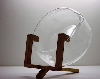 Kaj Franck, Glass Art, Sargasso Bowl, Clear Bubble Tray, Nuutajarvi Iittala, Hand Blown Design, Scandinavian, Mid-Century Modern,