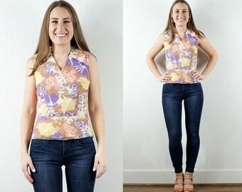 1970s Floral Sleeveless Shirt