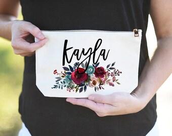 Bridesmaid Name Bag, Bridesmaid Name Cosmetic Bag, Bridesmaid Name Makeup Bag, Bridesmaid Makeup Bag Name, Bridesmaid Monogram Name Bag