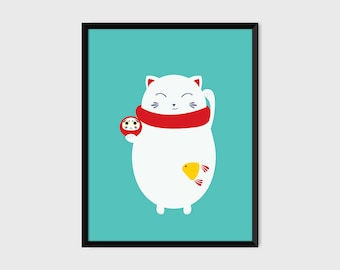 Japanese Maneki-Neko Daruma Print Pop Art Lucky Cat Illustration