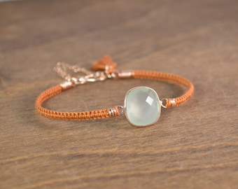 Macrame Gemstone Bracelet - 14k Rose Gold, Prehnite, and Silk