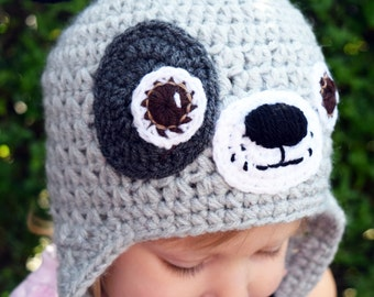 Handmade Crochet Dog hat, Grey Dog hat, Boys hat, Girls hat, Todller hat, Character Hat, Animal hat