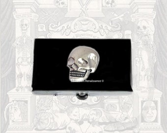 Skull Metal Pill Box Inlaid in Hand Painted Enamel Goth Inspired Pill Case with Personalized and Color Options