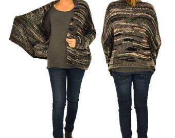 HV100MF3 Jacket Women's multicolor Gr. 38 40 42 44 46 Cardigan Sweater kastig cut Verschlusslos grey