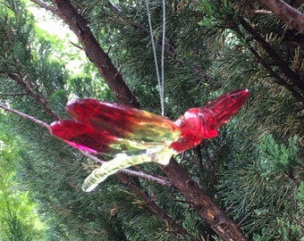 Crystal Dragonfly Mobile Piece--Hanging Red & Yellow Dragonfly Ornament--Fun Gift Box Decoration