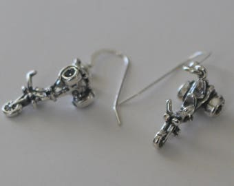 Sterling Silver 3 WHEEL MOTORCYCLE Earrings - 3D - W