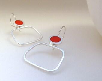 Orange Hoop Earrings  - Resin Earrings - Modern Square Hoops  - Minimalist Hoops - Christmas Gift for Mum - Pop