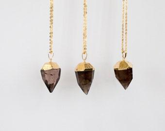 Smoky Quartz Necklace / faceted quartz necklace