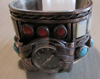 Zuni Sterling Silver Coral and Mother of Pearl Watch Ladies Bracelet