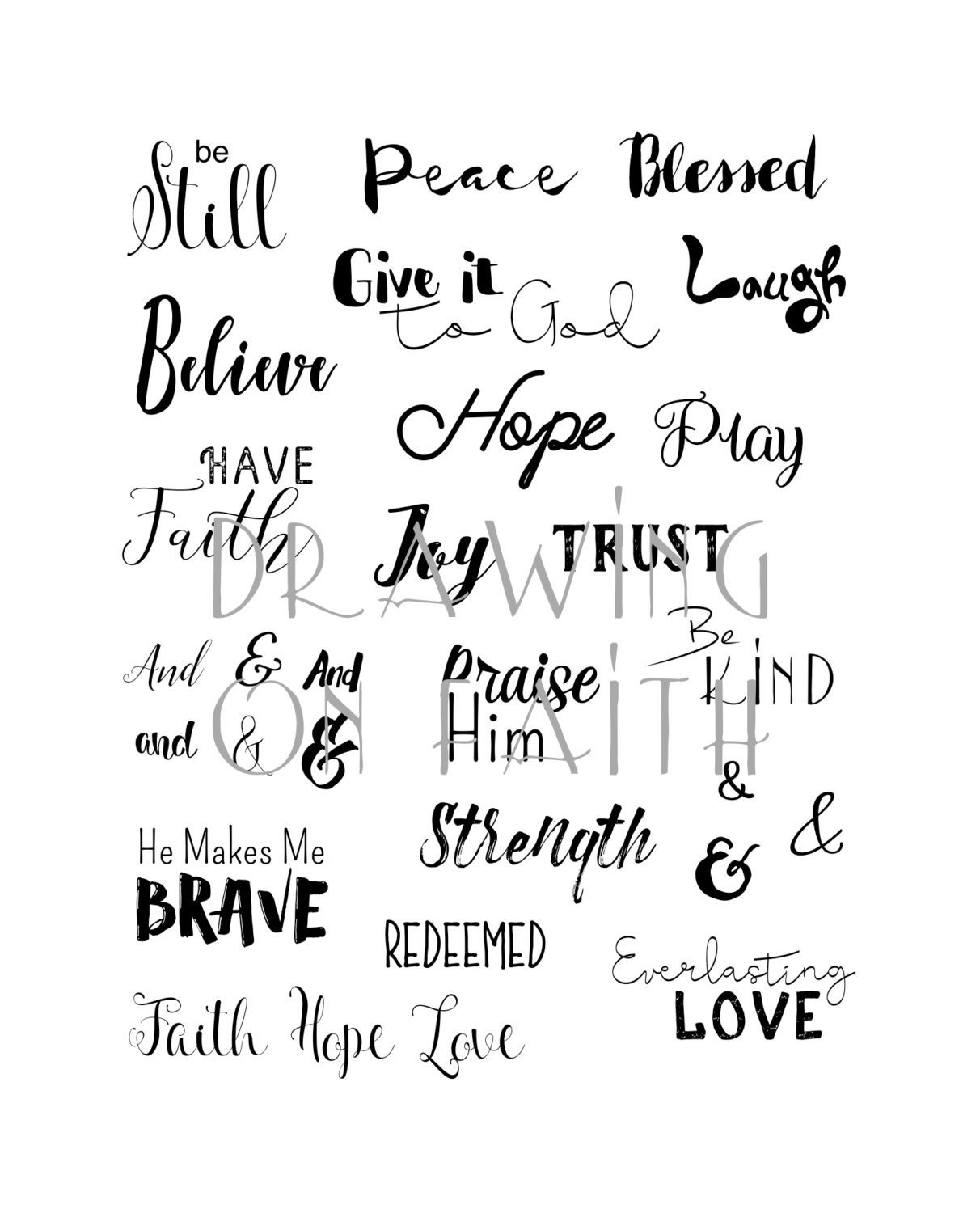 Faith Words, Printable File, Bible Words, Bible Journaling