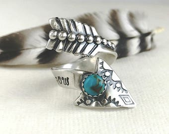 Arrow Ring - Sterling Silver Arrow Ring - Turquoise Arrow - Boho Arrow Jewelry - Follow Your Arrow Adjustable Ring For Women