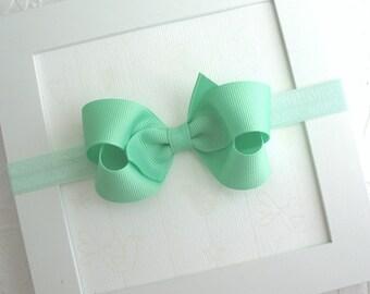 Mint Baby Bow Headband, Infant Headband, Newborn Headband, Bow Headband, Soft Baby Headband, Mint Green Hair Bow Headband