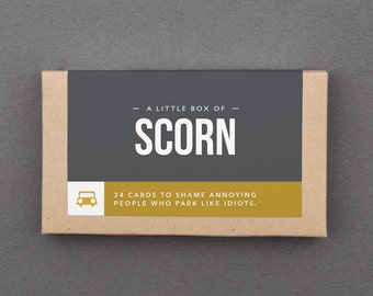 "Funny Gift for Man. Cheap, Budget, Under 20. Work, Office, Coworker, Guy, Friends. Joke, Humor, Gag. Bad Parking Notes. ""Scorn"" (L2P01)"