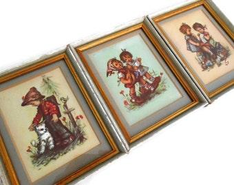 Vintage Hummel Prints, Set of 3 Framed Lithographs, Little Girls and Boys, Baby Animals Birds, Folk Art