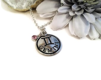 Gemini necklace, May & June star sign, birthday gift, astrology charm, metaphysical zodiac jewelry, May or June birthday. affordable gifts