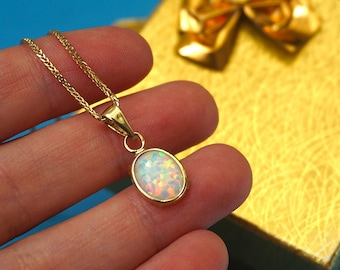 Gold opal pendant etsy 14k gold necklace opal necklace solid gold necklace opal pendant white opal aloadofball Image collections