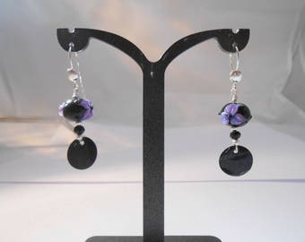 Earrings Lampwork bead, Onyx, Pearl and Sterling Silver 925